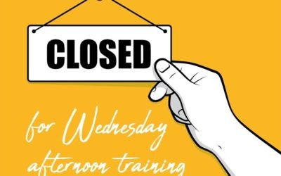 Closed from midday for training Wednesday 25 November
